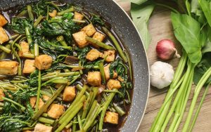 Stir fry Tofu and Water Spinach