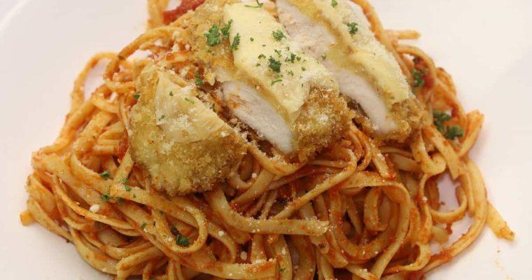 Linguine Pasta Recipe With Breaded Chicken
